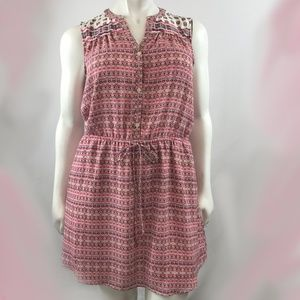 GAP Pink Floral Shortsleeve Drawstring Dress
